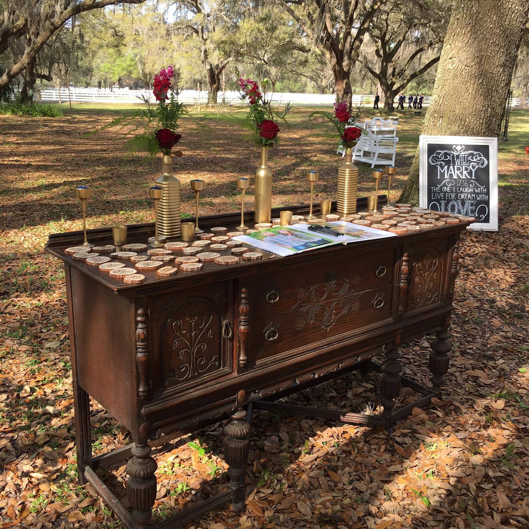 Rocking H Ranch - antique table set up outdoors