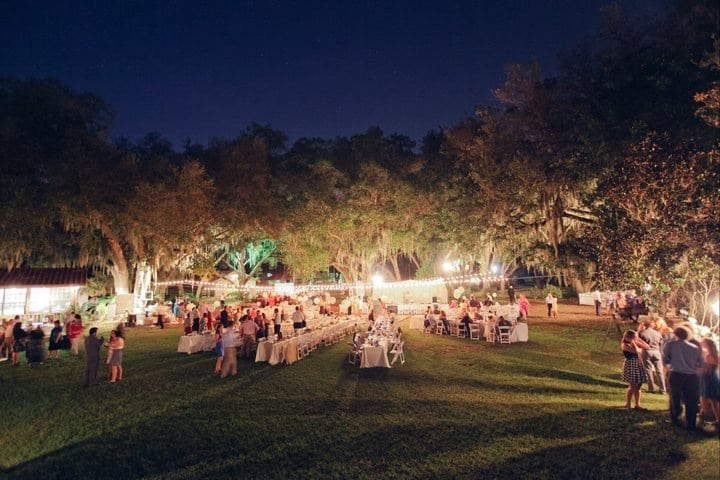 Rocking H Ranch - open-air wedding reception surrounded by trees