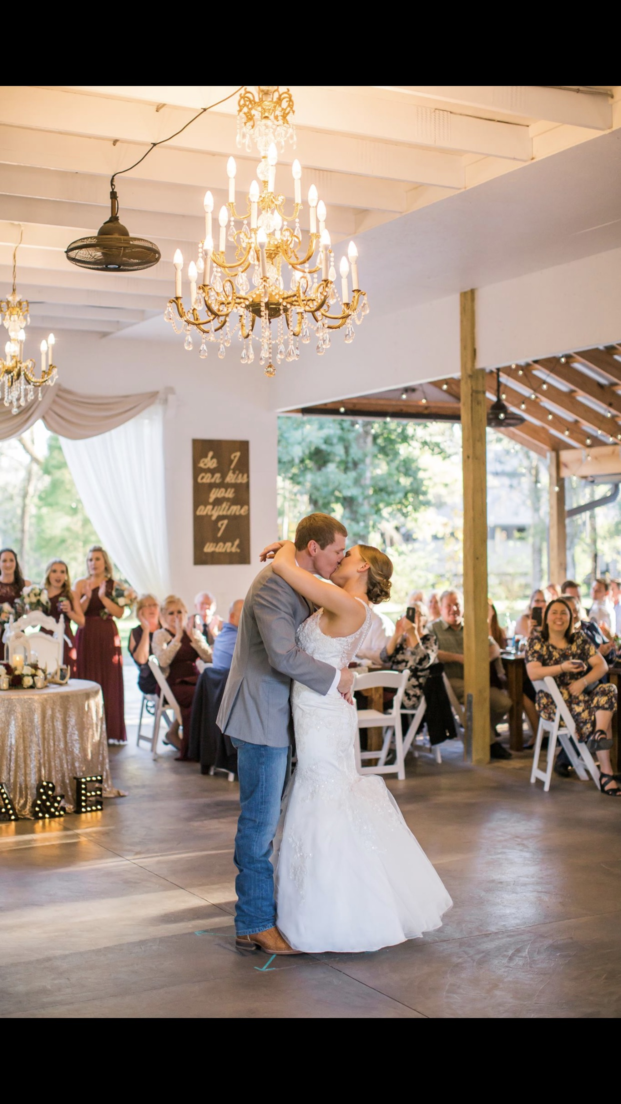 The White Barn - couple dancing in barn wedding venue