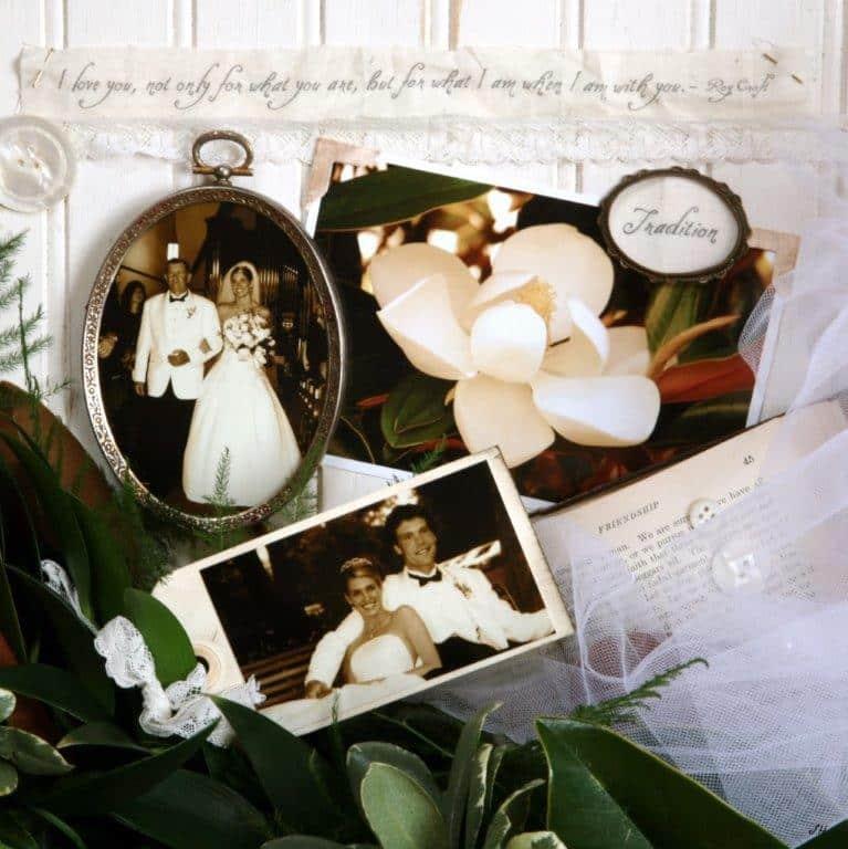 The Magnolia Company - wedding photos layered with magnolias