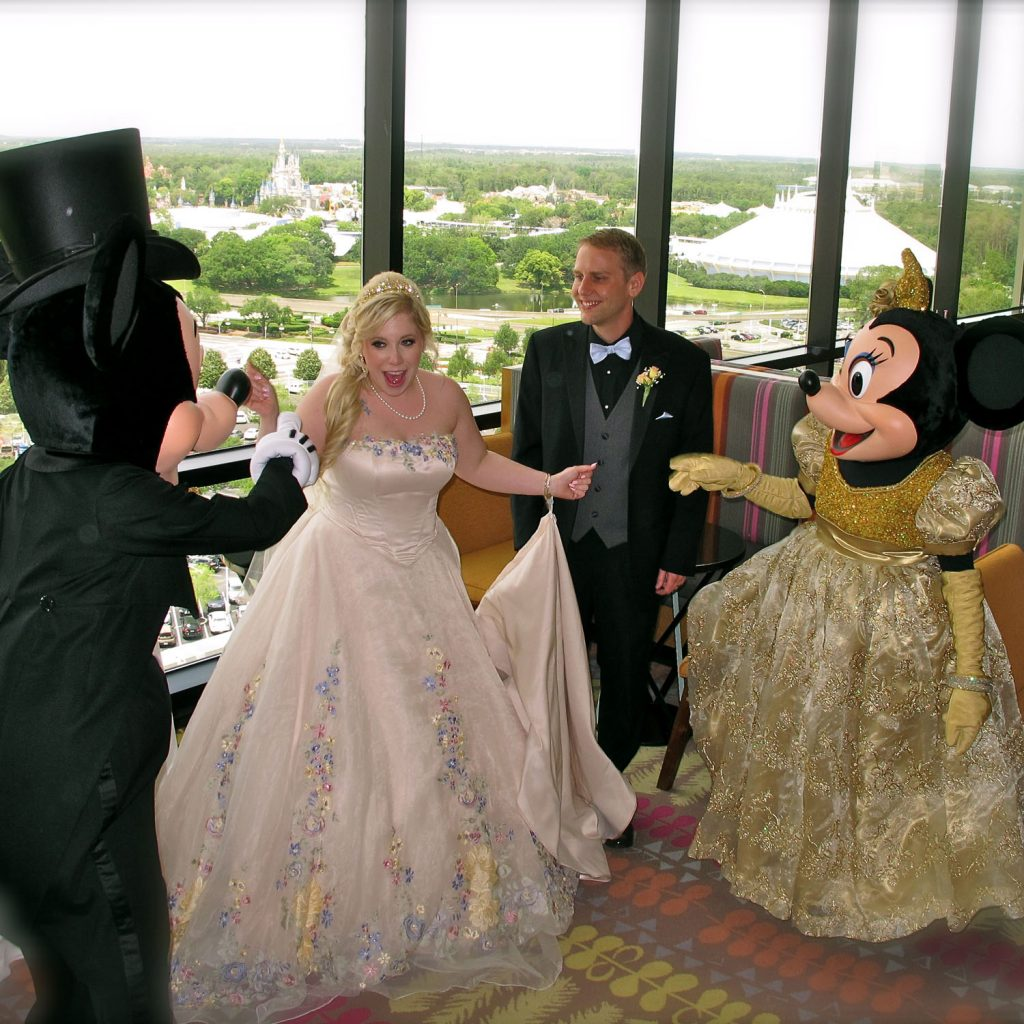Classic Disc Jockeys - bride and groom surprised by Minnie and Mickey!