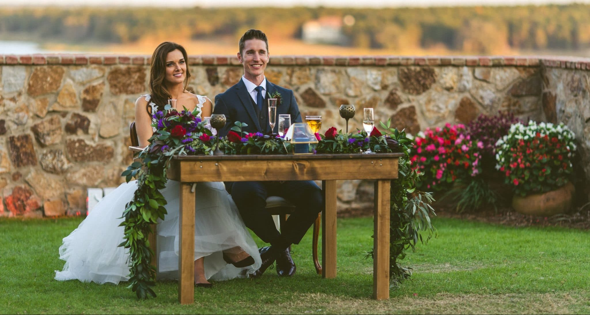 Orlando Wedding and Party Rentals, couple sitting outside at bride and groom table