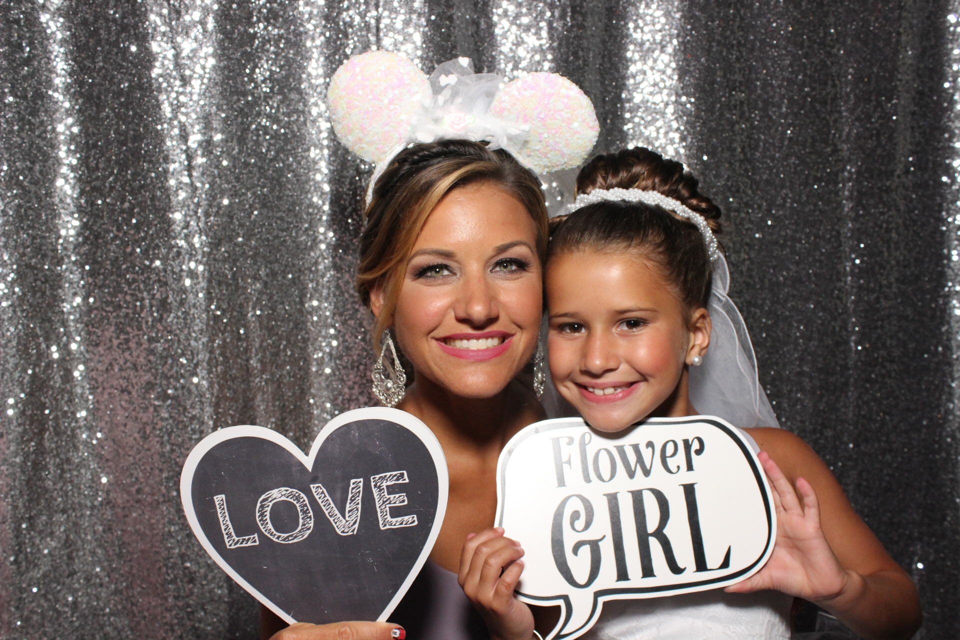 Party Shots Orlando - woman and flower girl in photo booth