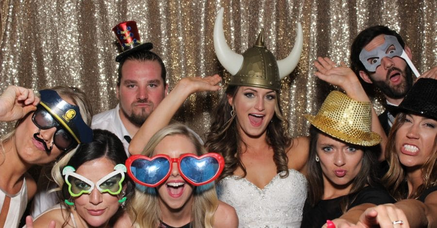 Party Shots Orlando - bride and guests with funny props in photo booth