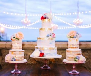 Sugar Sugar Cake Boutique - wedding cake flanked by two smaller cakes