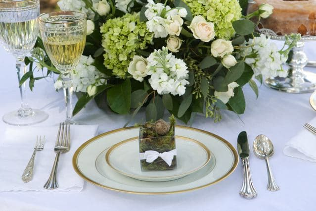 The Magnolia Company - green hydrangea centerpiece