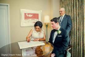 Jewish couple signing the ketubah
