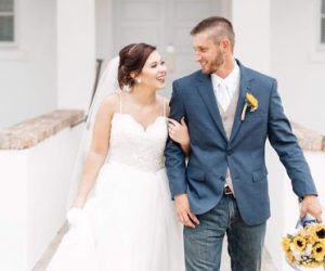 Your Events By L & L - happy bride and groom walking out of chapel