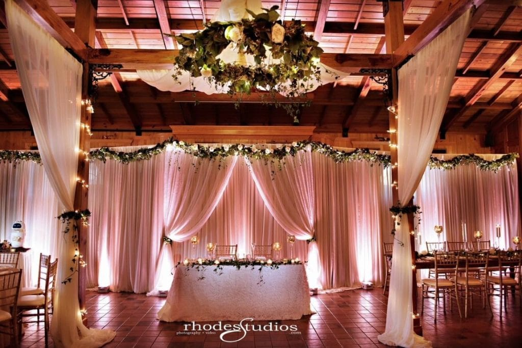 Estate on the Halifax - Indoors reception area with Bridal party table and fabric sways