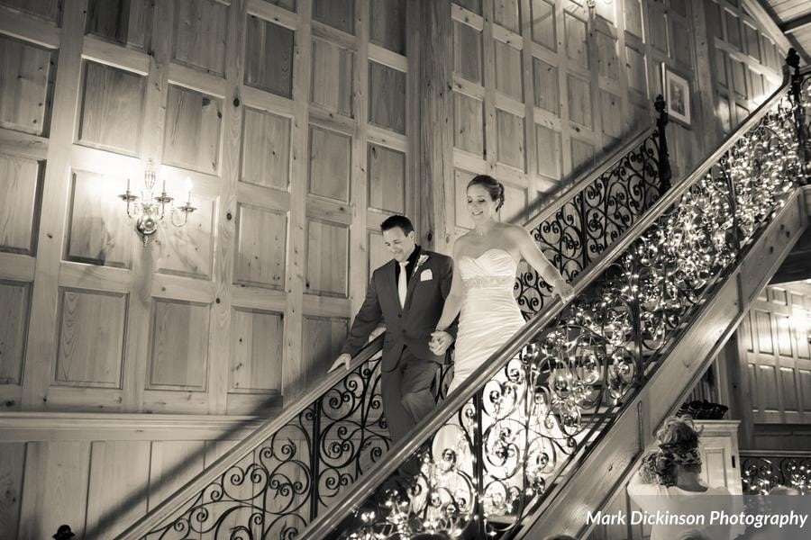 Estate on the Halifax - Bride and Groom walk down antique staircase to reception