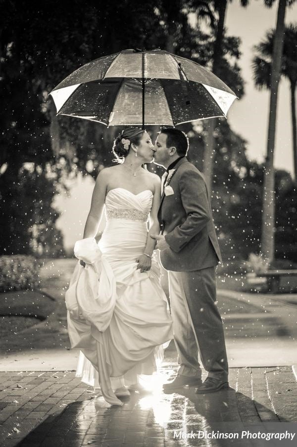Estate on the Halifax - Bride and Groom kissing under an umbrella outdoors