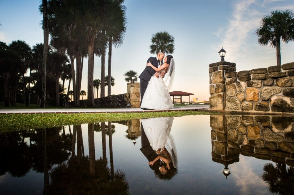 Estate on the Halifax - Intimate moment with Bride and Groom outdoors with reflection
