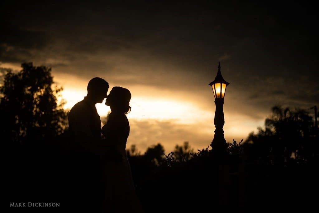 Estate-on-the-Halifax-Silhouette of bride and groom at dusk.