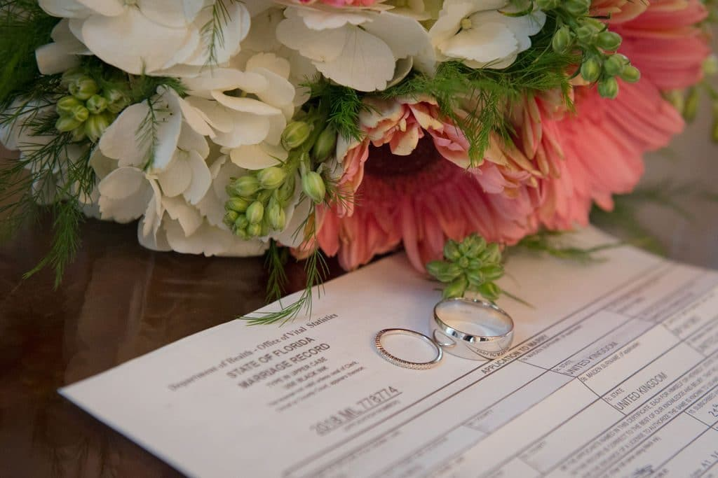 Florida Marriage License By Mail - rings lying on marriage certificate