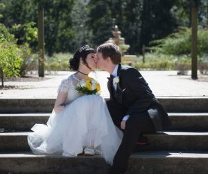 Get Married in Florida - bride and groom kissing on outdoor steps