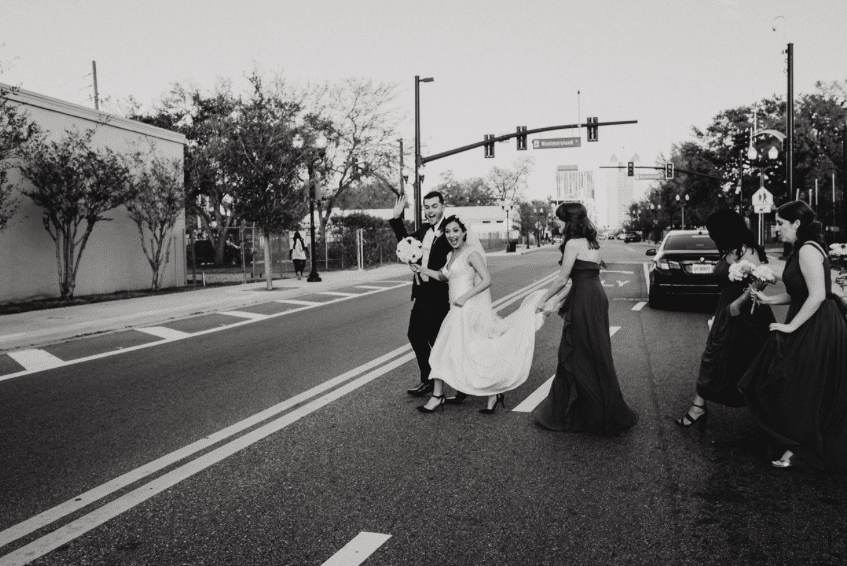1010-West-Bridal party walking in the street in black and white