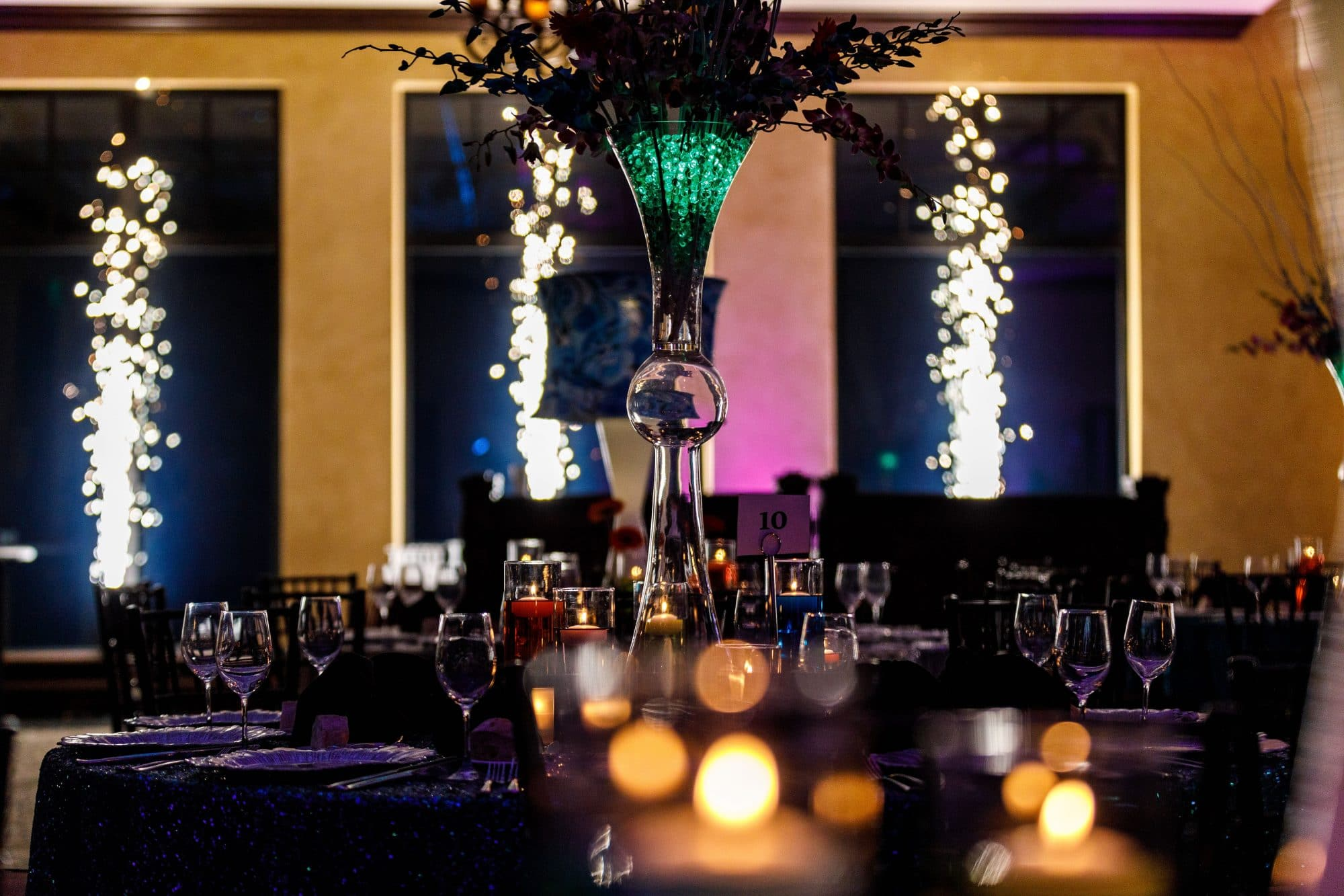 Get Lit Productions - reception room with sparks firing in background