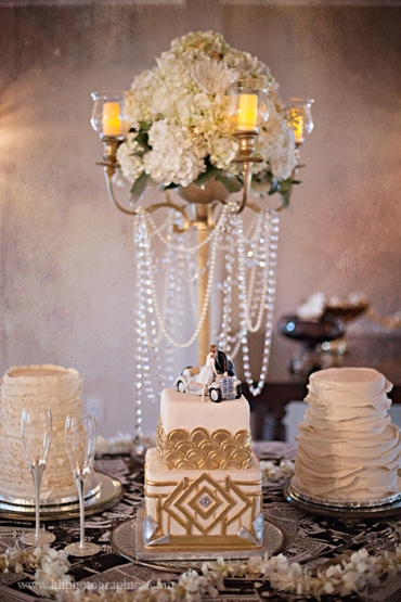 P.S. I Love You Productions - beautiful cake table with three small wedding cakes