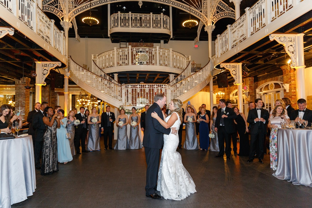 White Rose Entertainment - bride and father dancing at reception with gorgeous split-level staircase in background