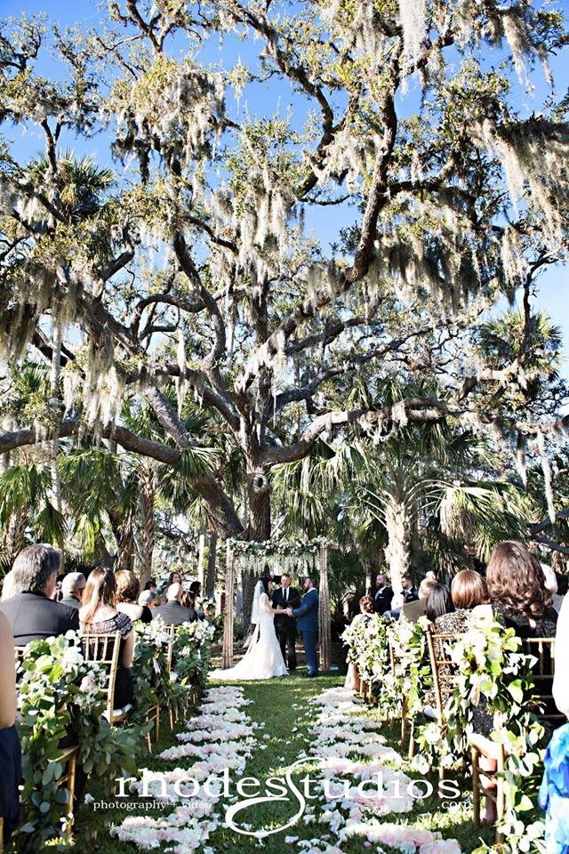 Estate on the Halifax - wedding ceremony under rustic trellis and moss-covered oak tree