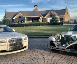 Exotic-Limo-Orlando- Rolls Royce and Excalibur Godfather in front of Bella Collina