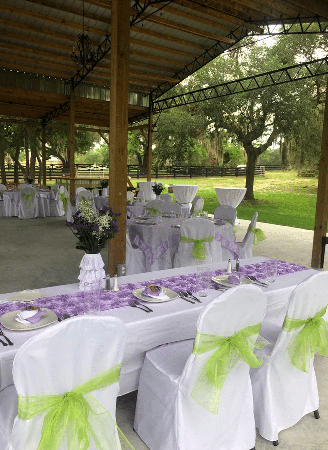 The-Farmhouse-on-44-Tables set up under outdoor pavilion