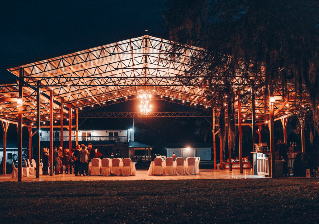 The-Farmhouse-on-44-Outdoor pavilion lit up at night for reception