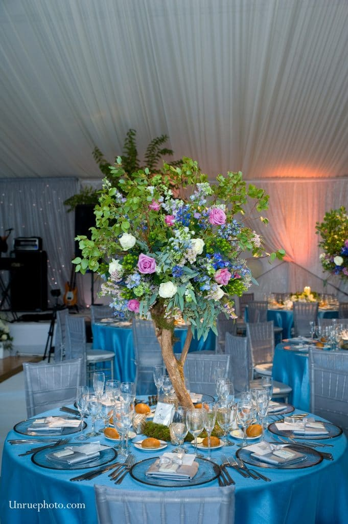 Greenery Productions - tall, natural floral centerpiece resembling a tree