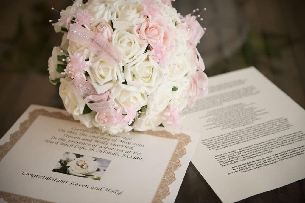 Florida Marriage License by Mail, bouquet on papers