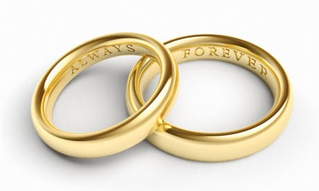 """Florida Marriage License by Mail - rings engraved with """"always"""" and """"forever"""""""