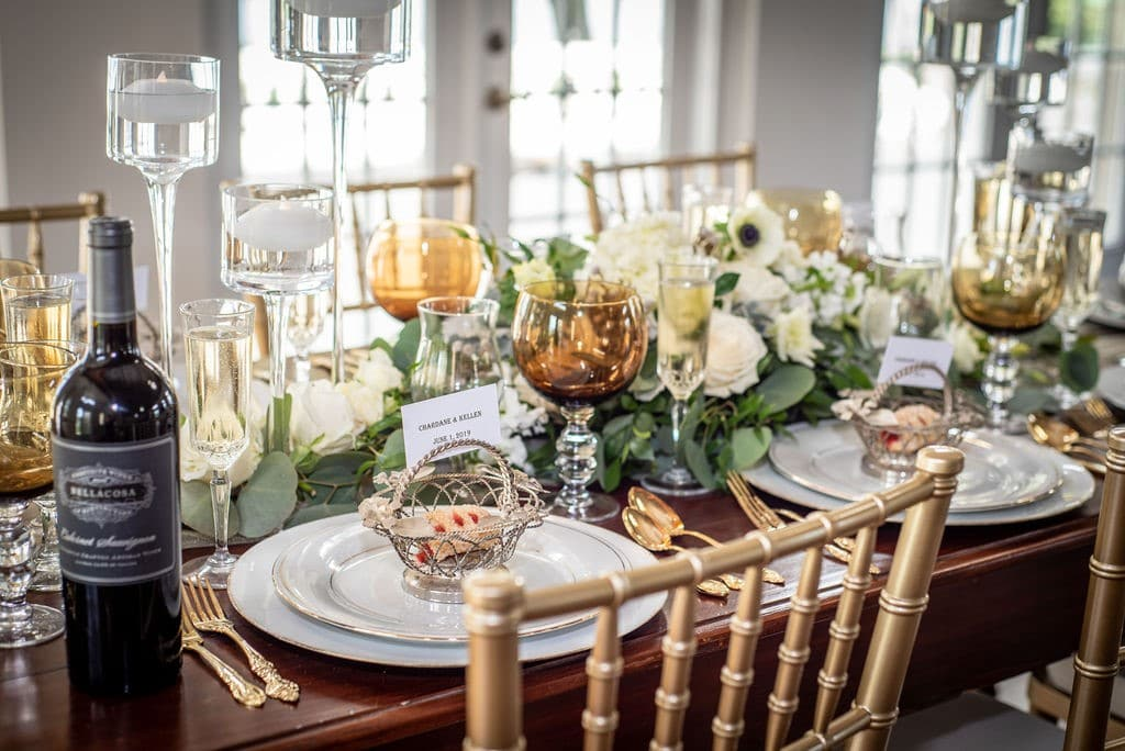 Bella-Cosa-Lakeside-Angled table setting with floral centerpieces
