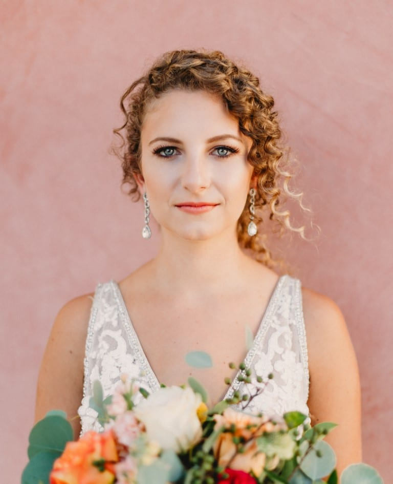 Bella-Cosa-Lakeside-Front of bride's face against a blush pink wall