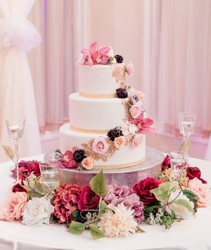 Sofelle Cake Artistry - white and gold cake with cascade of pink flowers