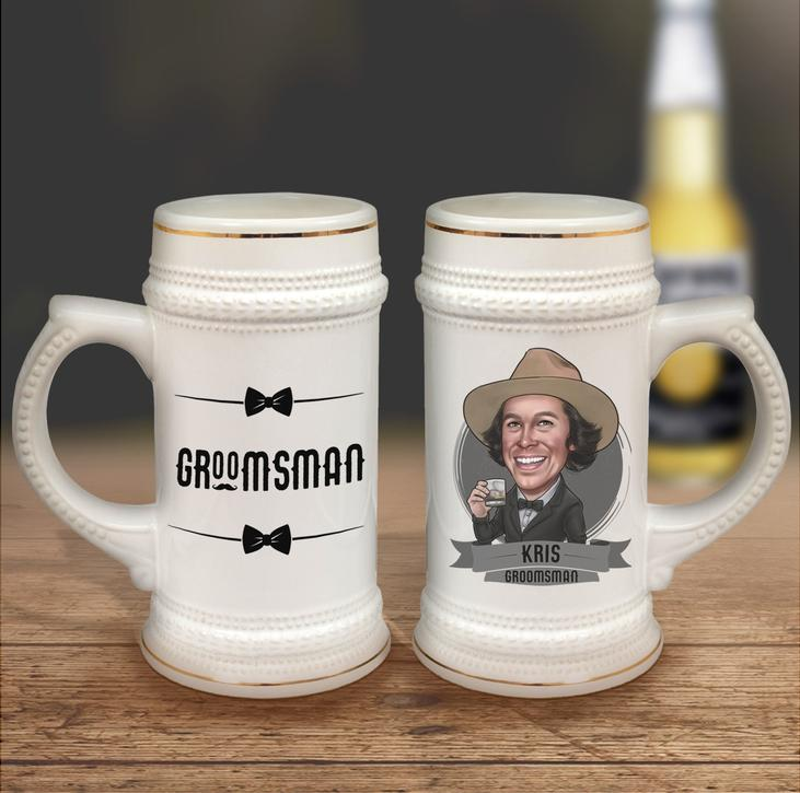 Personalized ceramic beer stein groomsman gift