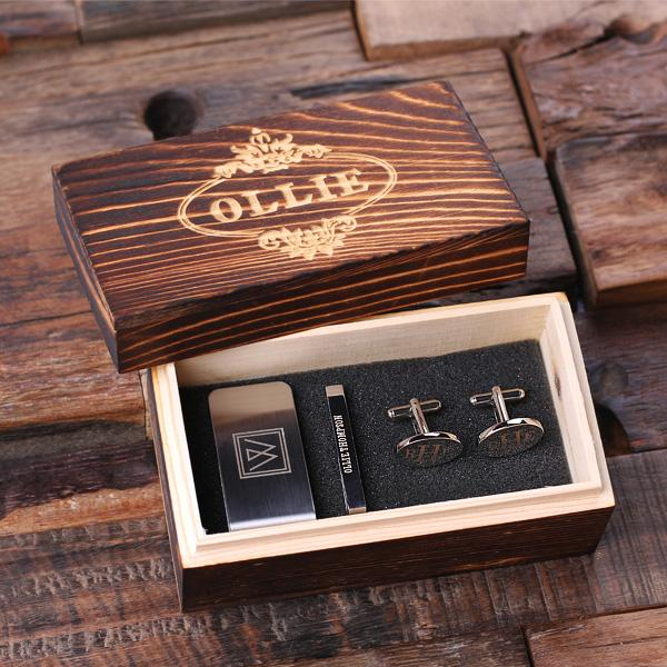 groomsmen gift idea - customized set of money clip, tie bar, and cufflinks