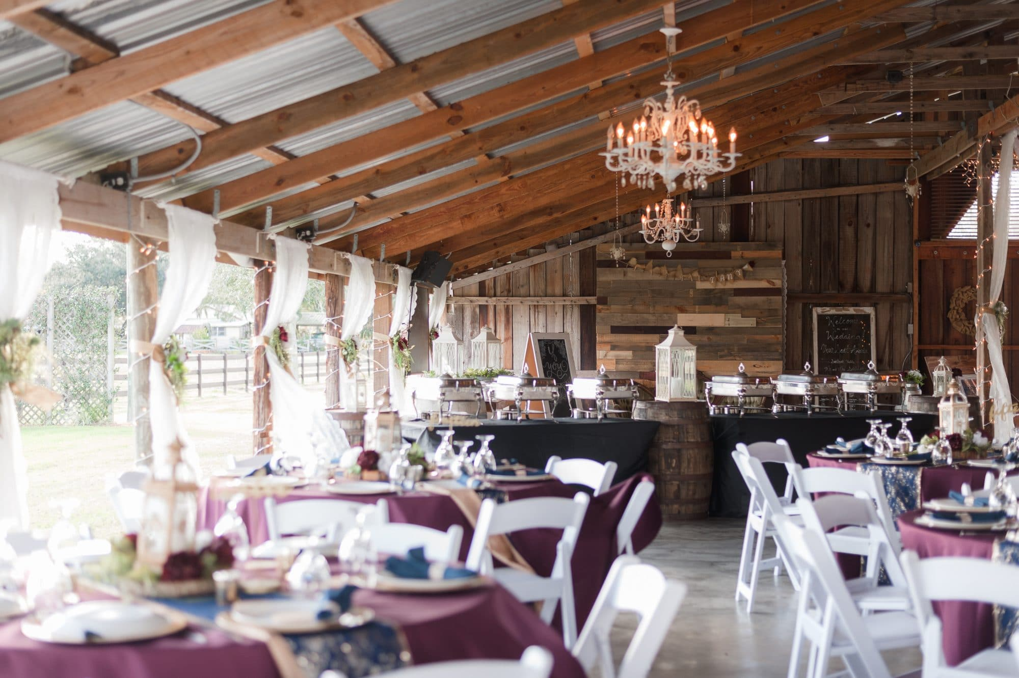 Rustic barn with touches of glam for a beautiful wedding reception.