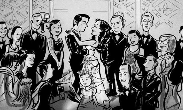 Caricature art of bride and groom surrounded by guests.