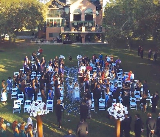 Cedar-Knoll-Events-FL-Arial view of ceremony in front of main house
