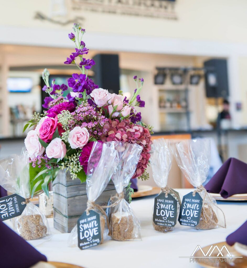 Celebration Golf Club - purple and pink centerpiece in rustic box