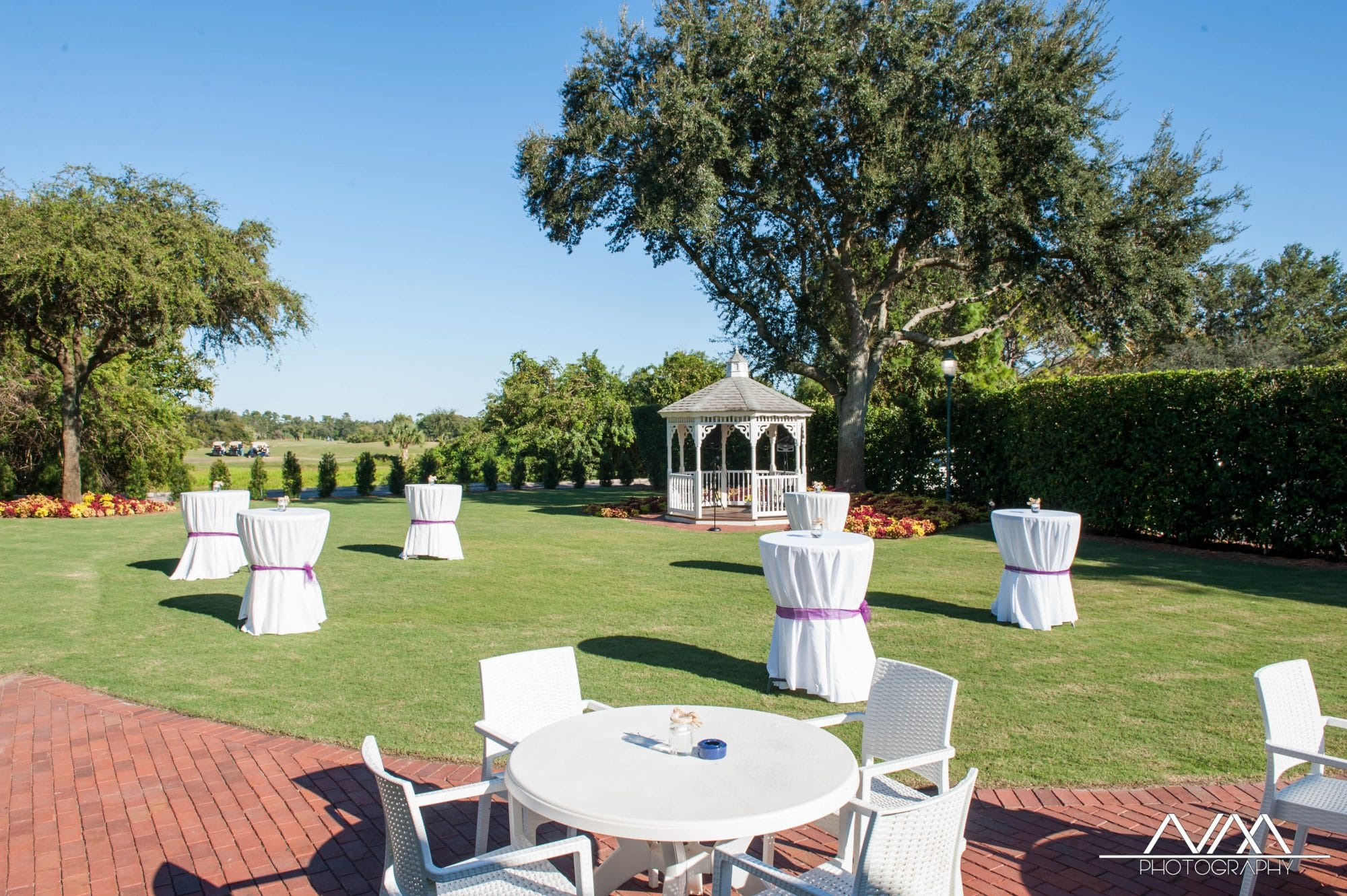 Celebration Golf Club - outdoor gazebo and cocktail tables
