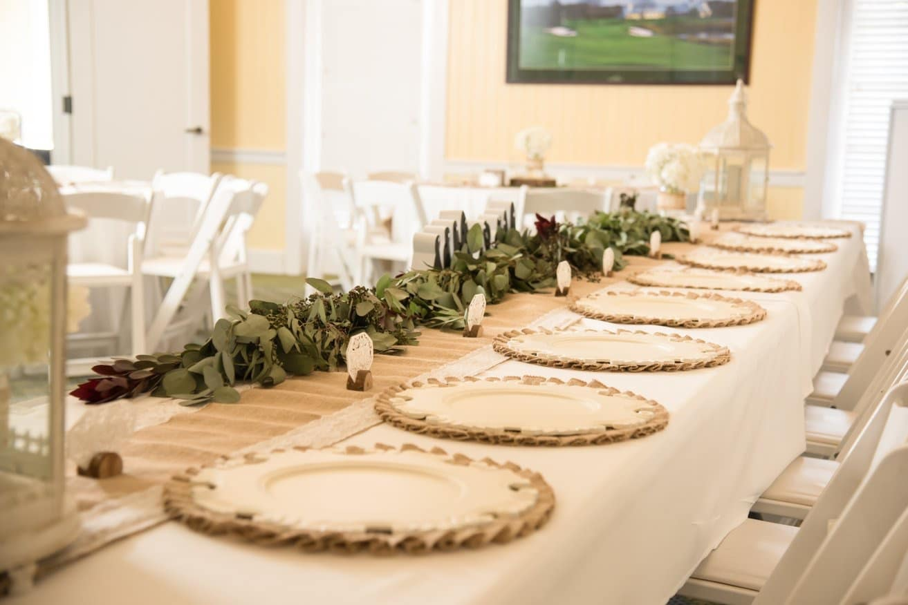 Celebration Golf Club - long reception table with eucalyptus and burlap runner