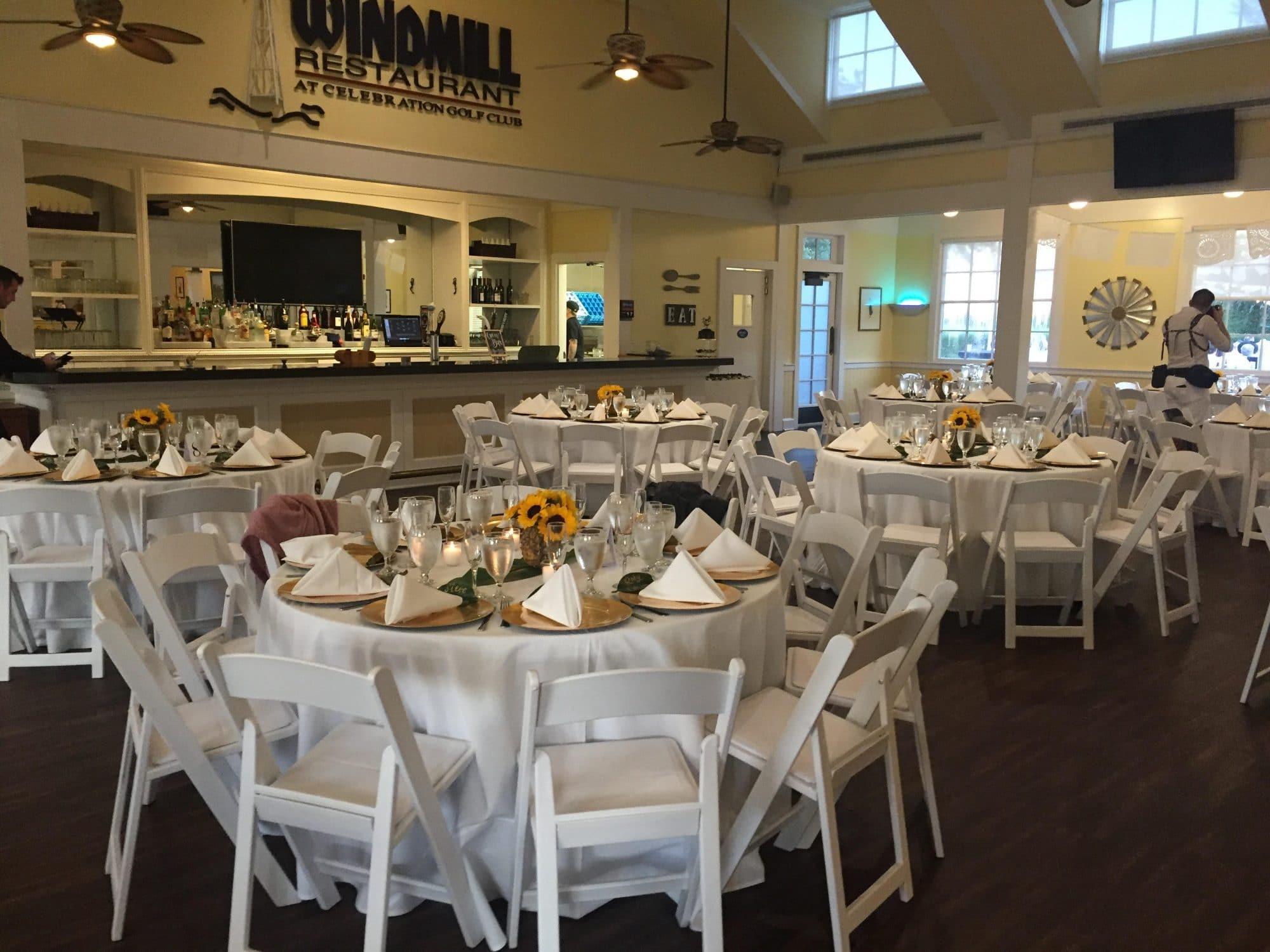 Celebration Golf Club - the Windmill Restaurant set up for wedding