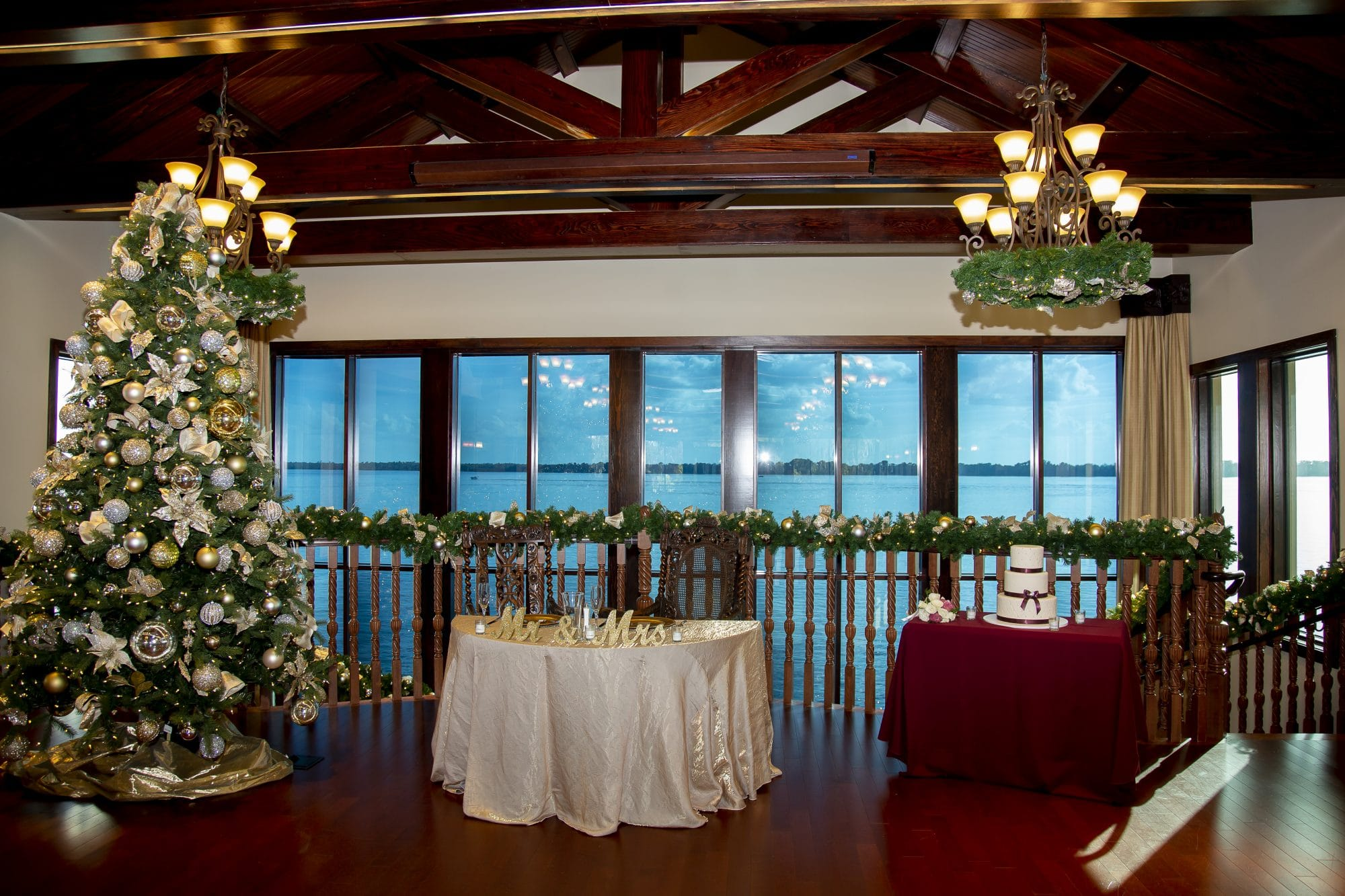 Gorgeous wedding venue with Christmas decorations