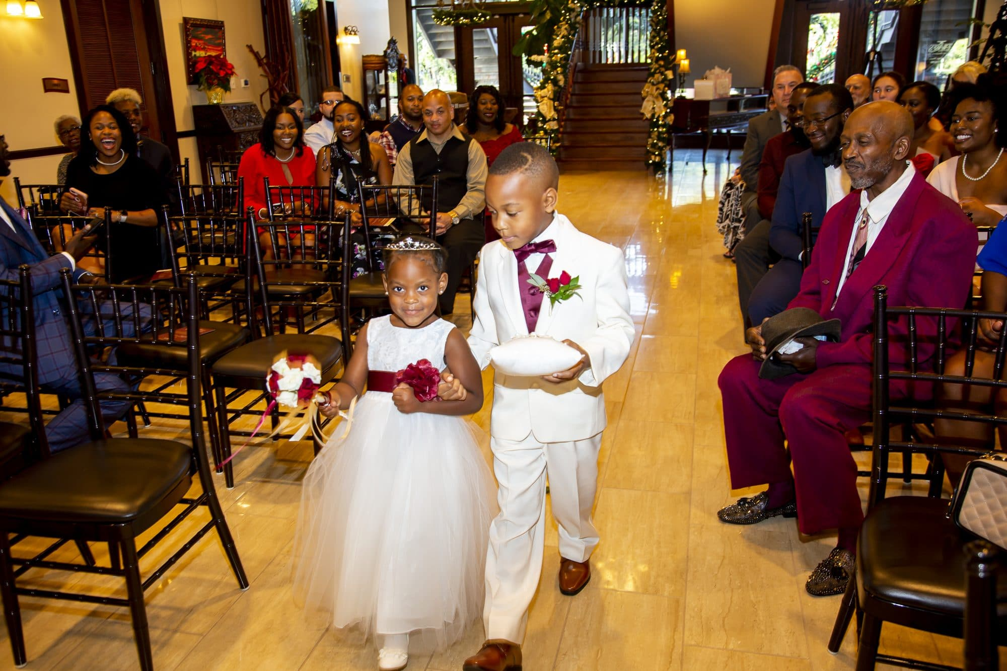 The happy couple's two kids acted as flower girl and ring bearer!