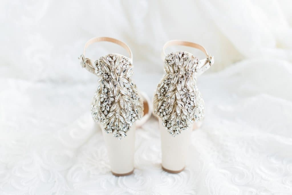 Bejeweled back of bride's shoes