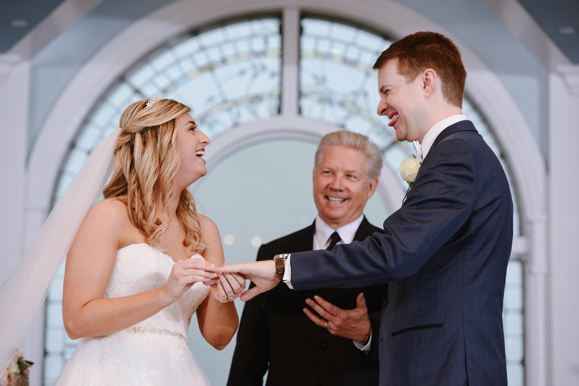 A Beautiful Ceremony - Kevin Knox officiating ceremony as bride and groom laugh