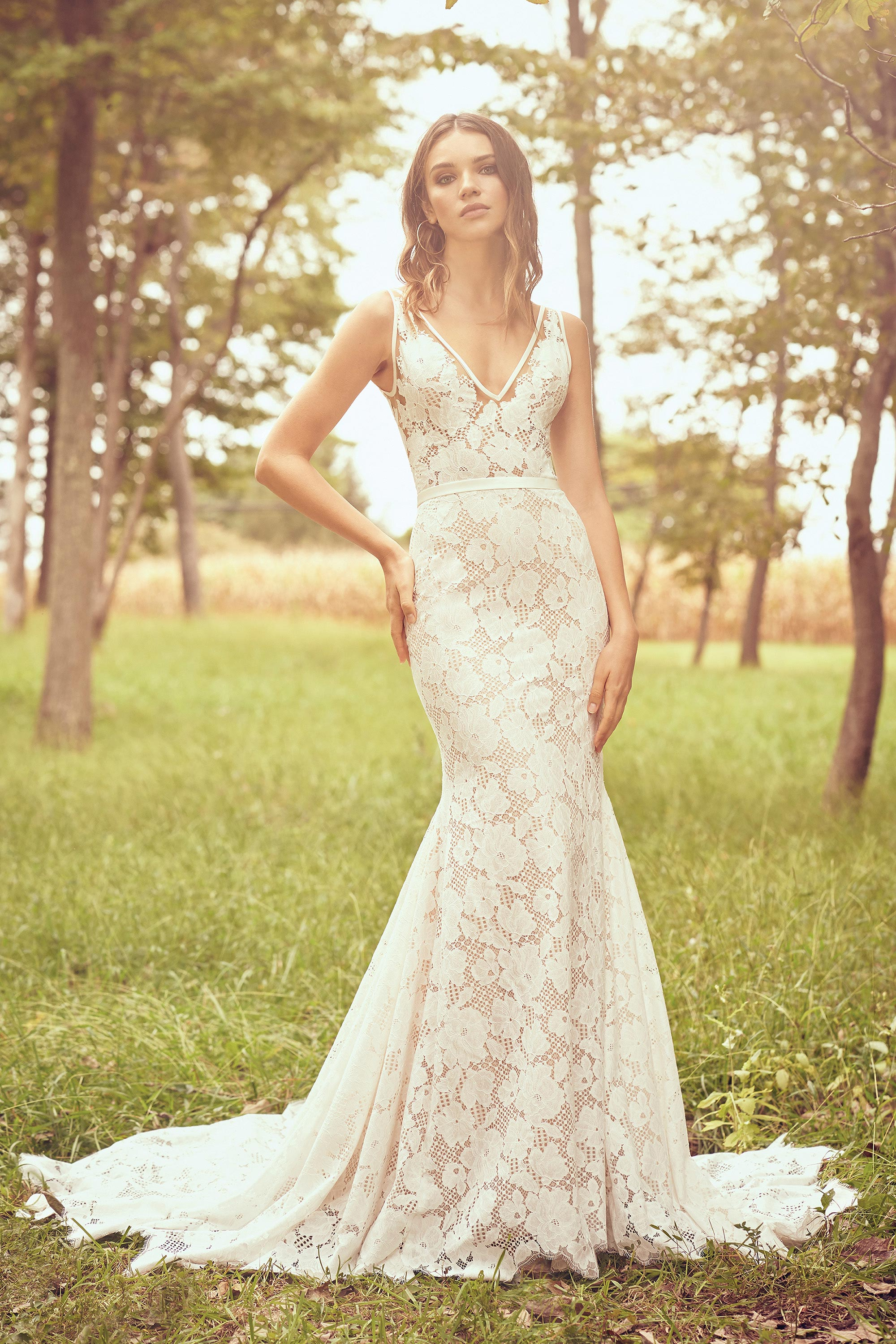 Bridal-Gallery-of-Orlando- Long lacey v neck thick strap dress with mermaid cut