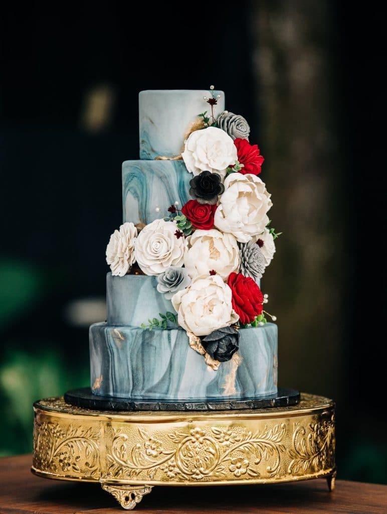 Cake & Bake - blue marble wedding cake with flowers