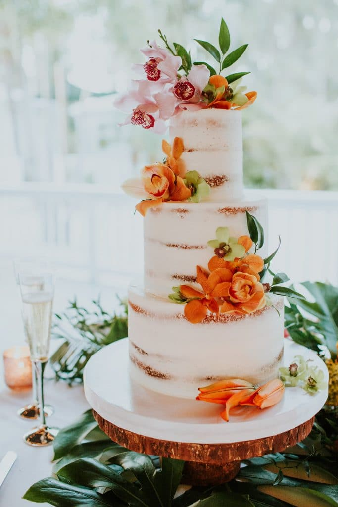 Everything Cake - semi naked cake with orchids