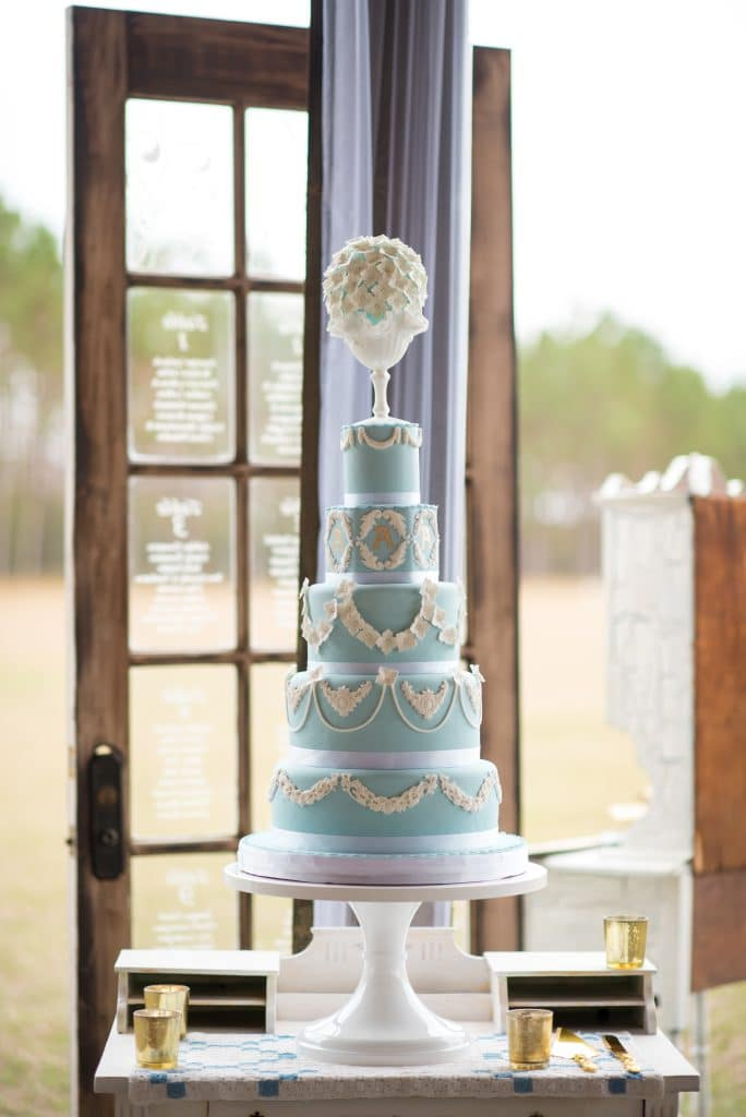 Everything Cake - glamorous five-tiered blue wedding cake
